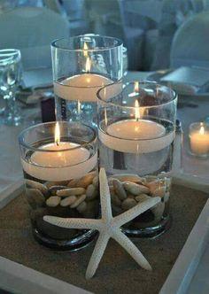Bougies DIY... souvenirs de vacances ou nostalgie de la côte ;-) très jolies ! -une idée de http://www.stylisheve.com/ ou https://www.facebook.com/Stylisheve