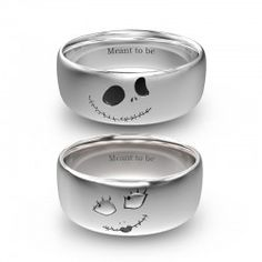 Nightmare before Christmas Jack And Sally Rings In Titanium For Couples for Valentines Gift