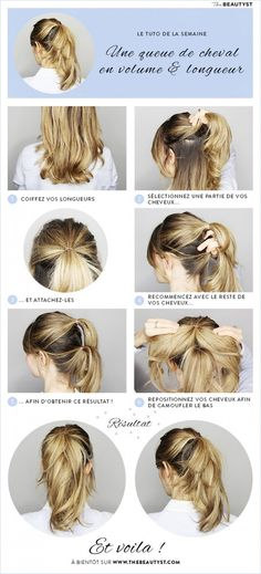 Hair Tutorial: The voluminous ponytail Big Ponytail, Voluminous Ponytail, Perfect Ponytail, Fuller Ponytail, Ponytail Hairstyles, Diy Hairstyles, Creative Hairstyles, Curly, Curls