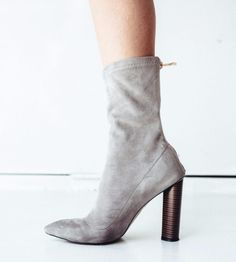 Grey Microfibre Wooden Heeled Boots at High End Hippie Store | Lookave #Boots #Booties #GreyBoots #SockBoots #SockBooties #WoodenHeels #WoodenHeeledBoots #Missguided #HighEndHippie #HighEndHippieStore #ootd #fashion #style #streetstyle #onlineshopping #outfit #trendy #look #lookave @kristenritchie @missguidedcouk