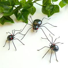 Three Handmade Black Spiders for Window by SpiderwoodHollow, $25.00