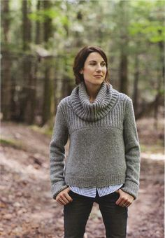 Oshima from Brooklyn Tweed: This cowl-neck pullover has a relaxed fit and a dramatic flare!