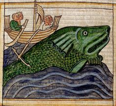 Whale, men in boat on its back. England c. 1236. BL | Flickr - Photo Sharing!