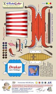 viking ship printable - print out, cut out stick and make. Imprimibles Toy Story Gratis, Viking Longship, Viking Party, Ship Craft, Dragon Party, Paper Ship, Viking Ship, Paper Models, How Train Your Dragon