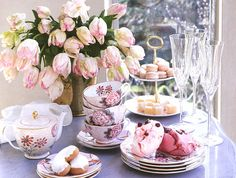 lovely arrangement of teacups and tulips
