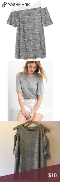 """Gap Cold Shoulder Tee Gap cold shoulder tee. Grey. Stretchy, jersey like material (48% polyester, 48% rayon/viscose, 4% spandex/elastane.) 24"""" long. Worn once. Like new. GAP Tops"""