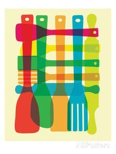 Kitchen Giclee Print - Utensil Stack - Poster Mid Century Modern Inspired Art Print Plaid Pattern via Etsy Kitchen Prints, Kitchen Art, Design Kitchen, Mid Century Modern Kitchen, Kitchen Modern, Poster Prints, Art Prints, Posters, Block Prints