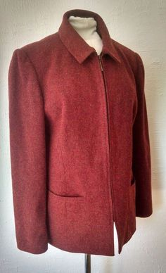 Lands End Womens 10 Boiled Wool Jacket Heathered Red Pockets Zipper Lined Blazer #LandsEnd #BasicJacket