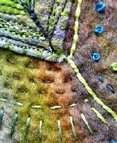 Jackie Cardy wrote an article for Workshop on the Web in March 2013.  This is the first part of a two-part article, and this looks at creating variegated felt ready for stitching in part two.