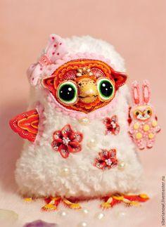 Купить Сова игрушка. Кокетливая Ляля . Яркая, солнечная игрушка - белый, розовый