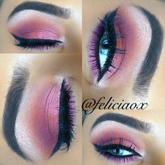 By MUA: feliciaox featuring her Galaxy Chic Baked Eyeshadow Palette. Pink and orange Makeup Case, Love Makeup, Skin Makeup, Beauty Makeup, Makeup Stuff, Makeup Ideas, Galaxy Eyeshadow, Eyeshadow Palette, Eyeshadow Ideas