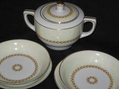 Japan Fuji China Sugar Bowl Laurel Pattern/Mid Century Sugar Bowl/Vintage Dinnerware/Vintage Sugar Bowl Saucers by CollectorVintageShop on Etsy