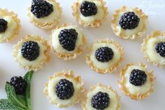 lemon and blackberry mini tarts I would exchange phyllo dough for pie crust