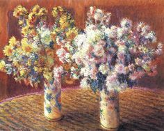 Two Vases of Chrysanthemums by Claude Monet in oil on canvas, done in Now in a private collection. Find a fine art print of this Claude Monet painting. Claude Monet, Monet Paintings, Impressionist Paintings, Pierre Auguste Renoir, Edgar Degas, Art Floral, Charles Gleyre, Art Japonais, Oil Painting Reproductions