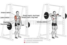 Exercise name: Smith machine upright row. Target muscle: Lateral Deltoid. Synergists: Anterior Deltoid, Supraspinatus, Brachialis, Brachioradialis, Biceps Brachii, Middle and Lower Trapezius, Serratus Anterior, Infraspinatus, and Teres Minor. Mechanics: Compound. Force: Pull. Best Shoulder Workout, Shoulder Exercises, Back Exercises, Kettlebell Training, Weight Training Workouts, Rowing Workout, Exercise Workouts, Fitness Workouts, Fitness Motivation
