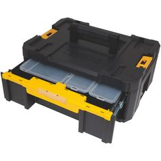 Use this DEWALT TSTAK Deep Drawer Stackable Unit for manufacturing many of the reliable and best-performing professional-grade power tools. Dewalt Storage, Tool Storage, Storage Boxes, Dewalt Tstak, Dewalt Tools, Cantilever Tool Box, Dewalt Tough System, Deep Drawer Organization, Box Houses