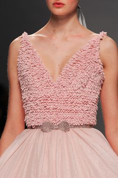 View all the detailed photos of the Georges Hobeika haute couture spring 2015 showing at Paris fashion week. Read the article to see the full gallery. Pink Fashion, 90s Fashion, Runway Fashion, Fashion Dresses, Paris Fashion, Georges Hobeika, Little Girl Dresses, Girls Dresses, Pink Dresses