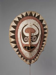 Eharo Mask, early 20th century, Papua New Guinea, Orokolo village, Papuan Gulf, Elema people, barkcloth, cane, paint