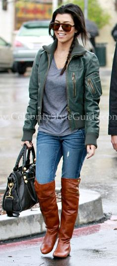 Kourtney Kardashian wears flat over-the-knee boots with jeans for a casual weekend look. #thighhigh #boots #styletips