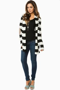 ShopSosie Style : Andy Striped Cardigan in Black