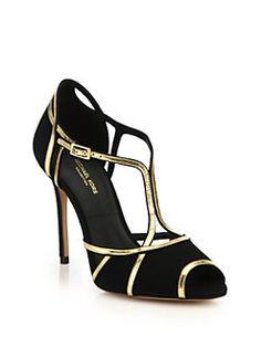 Michael Kors Collection - Caryn Suede & Metallic Leather Peep-Toe Sandals