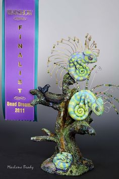 BEAD AND BUTTON MAGAZINE'S International Bead Dreams Competition | Marlene Brady, Finalist, Chameleon Pins