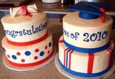 High School Graduation Dinner Cakes - 2 cakes for the celebration dinner put on by the parents after HS graduation. All buttercream, MMF accents, gumpaste toppers. Fun to make, heavy to carry!