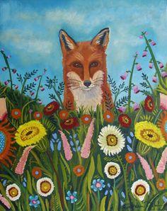 Fox In The Flowers-Fine art Print by CatherineNolinArt on Etsy