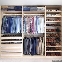 Is your closet overflowing? Here are closet storage ideas to help you gain more control over your closet space. Wardrobe Design Bedroom, Master Bedroom Closet, Bedroom Wardrobe, Wardrobe Closet, Small Wardrobe, Closet Space, Small Closets, Closet Wall, College Wardrobe
