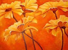 pinturas naranja FLORES NARANJA . OLEO LIENZO