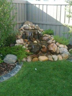 60 New Ideas For Backyard Landscaping Water Features Garden Fountains Backyard Water Feature, Ponds Backyard, Backyard Waterfalls, Garden Ponds, Diy Water Feature, Landscape Design, Garden Design, Landscape Pics, Landscape Timbers