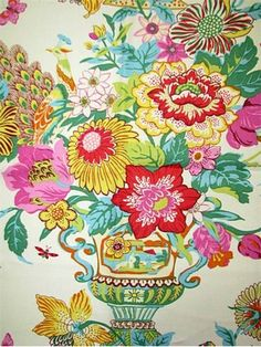 "Portobello Vase Blossom:Williamsburg Colonial Fabric Collection. 100% linen. Multipurpose, linen, floral print fabric. V 25.25"" H 27"" up the roll repeat. 54"" wide."