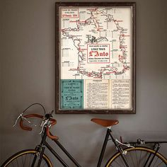 """Tour de France vintage map poster size, map of Tour de France 1914 made to order, Historical map up to 28x40"""" (70x100 cm) fits Ikea frames"""