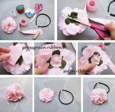BEAUTIFUL DIY HAIR ACCESSORY.  It will look really sweet on little girls♥