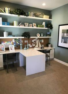 So make sure you design your home office exactly how you want from the perfect colors. See more ideas about Desk, Home office decor and Home Office Ideas. Guest Room Office, Home Office Space, Home Office Desks, Desk Space, Basement Office, Guest Rooms, Nursery Office, Loft Office, Basement Storage