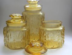 Retro Atterbury Scroll Imperial Glass Canisters with Lids: Amber, Harvest Gold, Apothecary, Storage, Jars, Chic Decor, Glass Jar, Lidded