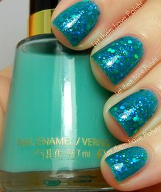 """one more from cristina@letthemhavepolish: revlon """"seafoam"""" used for a jelly sandwich with orly's new """"go deeper"""". so cool and summery!!"""