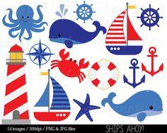 Nautical Clipart Clip Art, Anchor Clipart, Whale Clipart, Sailing Ocean Lighthouse Sailboat Sea - Co