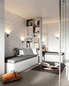 Kids shared bedroom - How to Complete the Small Bedroom with Twin Beds 14 Living Room Cozy Cozy Small Bedrooms, Cozy Living Rooms, Bedroom Small, Bedroom For Twins, Childrens Bedrooms Shared, Kid Bedrooms, Bedroom Black, Bedroom Green, Small Rooms