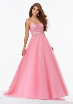 Mori Lee Prom style 99126. Beaded Tulle Prom Ball gown with scoop neckline. Available at Bridal Collections Spokane, WA
