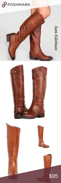 """SAM EDELMAN PENNY RIDING TALL BOOTS NOWT, no box. Gorgeous Sam Edelman Penny Riding Boots. A rich burnished  finish enhances a high knee leather boots with svelte slanted shaft. Back zip with snap-tap for closure. 1"""" inch heels. True to the size. Color Whiskey.  Line tag to prevent store returns. Bundle and save. Feel free to ask me any questions. Sam Edelman Shoes Winter & Rain Boots"""