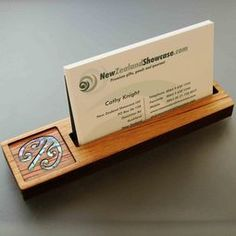 Wooden business card stand - little NZ business gifts