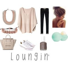 Mini Celine Tote. Nude knit sweater . Skinny jeans. EOS lip balm .  Converse outfit . White converse. Top knot . Fall outfit . Casual nudes for fall . casual fall outfit. Lounge wear . Essie mink muffs. Bauble bar.