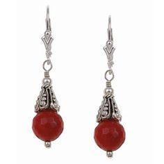 @Overstock - Each of these earrings features a simple bead of genuine sea bamboo coral, finished with a designer-style decorative cap. Handcrafted of fine sterling silver in the USA, the earrings secure with leverback clasps.http://www.overstock.com/Jewelry-Watches/Charming-Life-Sterling-Silver-Red-Sea-Bamboo-Coral-Earrings/5211838/product.html?CID=214117 $26.49