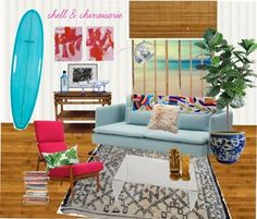 a chair challenge- Shell and Chinoiserie Seaside Style, Surfer Style, Eastern Accents, Sofa, Couch, Ticking Stripe, Chinoiserie, Shells, Challenges
