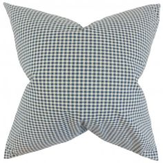 """Simple and understated, this throw pillow makes a great statement piece. Printed with a plaid pattern in shades of blue and white, this 18"""" pillow provides texture and dimension. Combine with solids and other pattern like ikats, geometric and more. This indoor pillow is made of 100% cotton material. Crafted in the USA. $55.00 #pillows #homedecor #tosspillow #interiorstyling"""