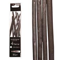 Carvão Vegetal   Carvão natural vegetal para desenho e esboço.  Diâmetro do carvão: entre 6 - 8 mm Comprimento da barra: aproximadamente 13 cm Contém: 4 barras   Fabricante:  Keramik