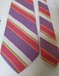 Wembley CHADWICK Tie REGIMENTAL Stripes Lavender Purple Pink Yellow White EUC #Wembley #NeckTie