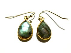Labradorite and Gold Earrings by StaggsLane on Etsy
