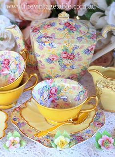 Vintage China, Crockery and Tea Set Hire - Perth - The Vintage Table Yellow Chintz Vintage China, Vintage Crockery, Vintage Yellow, Teapots And Cups, Teacups, China Tea Cups, Chocolate Pots, Tea Cup Saucer, High Tea